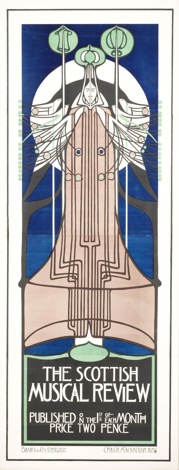"""Charles Rennie Mackintosh: lithograph poster for """"The Scottish Musical Review,"""" 1896. 96 1/2 x 39 1/8 in."""