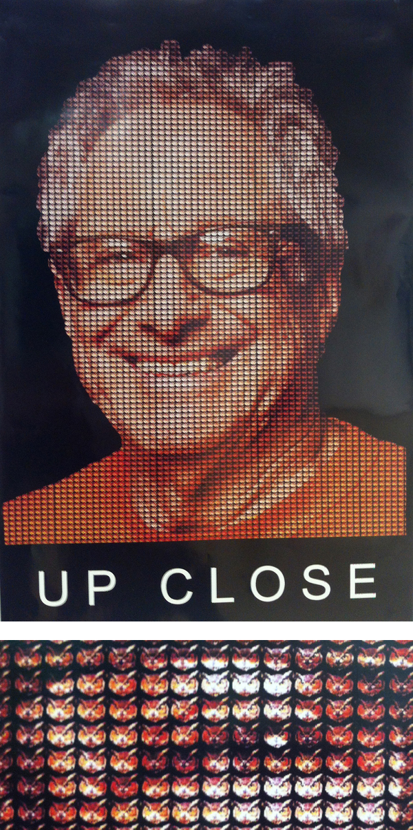 """JW. Zumwinkle: """"JW's Up Close is stylistically similar to a Chuck Close drawing but created with small owls."""" [below: section enlargement]; Robbie Conal Poster Roast"""