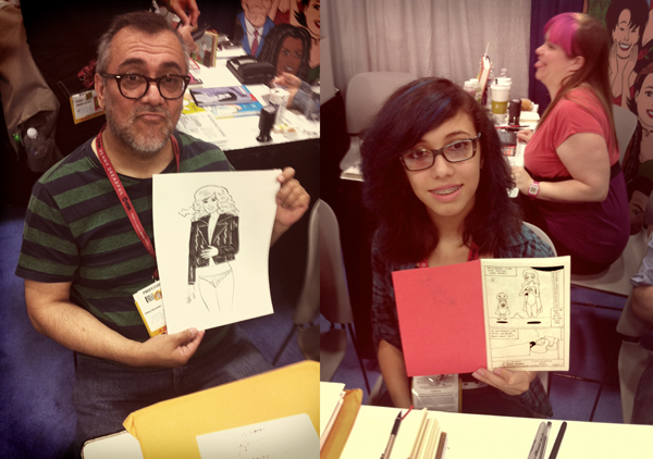 Here's Gilbert Hernandez two days before he – and brother Jaime – were surprised to finally score their long-overdue Eisner Awards. Daughter Natalia still has a couple of years before her big win.