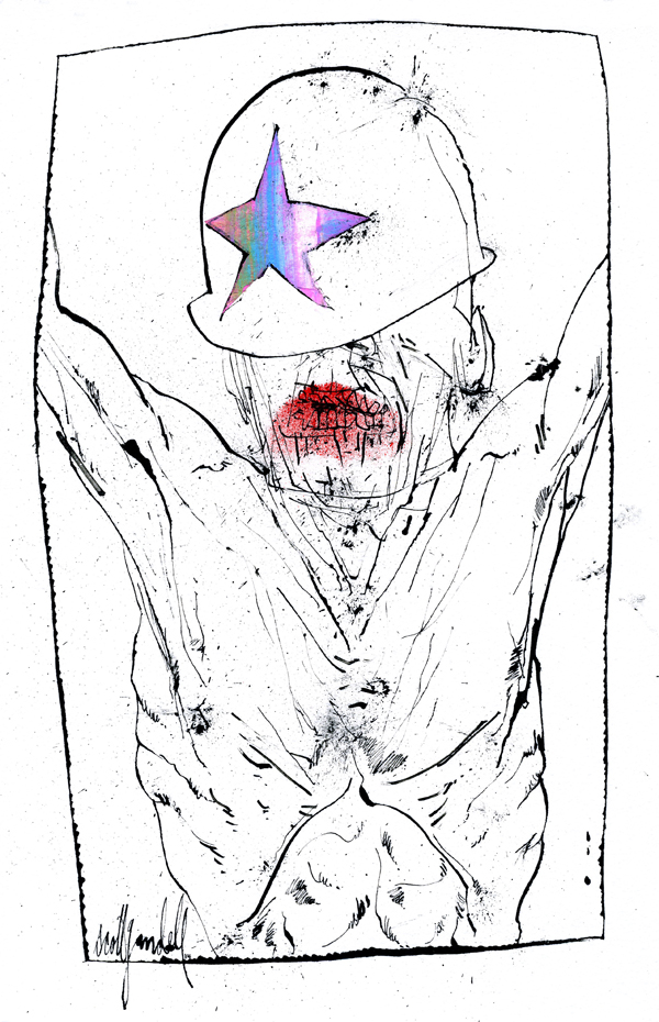 """Illustration by Scott Gandell, who says, """"Zombies, after years at the forefront of pop culture, remain a star of the the show, taking serious bites out of attendees' time and money.  Men, women, and kids are totally into it. I don't get it personally, but I understand the lure of gore: it's fun to draw. The militarization of commercialism or a playground of pop culture. You decide."""""""