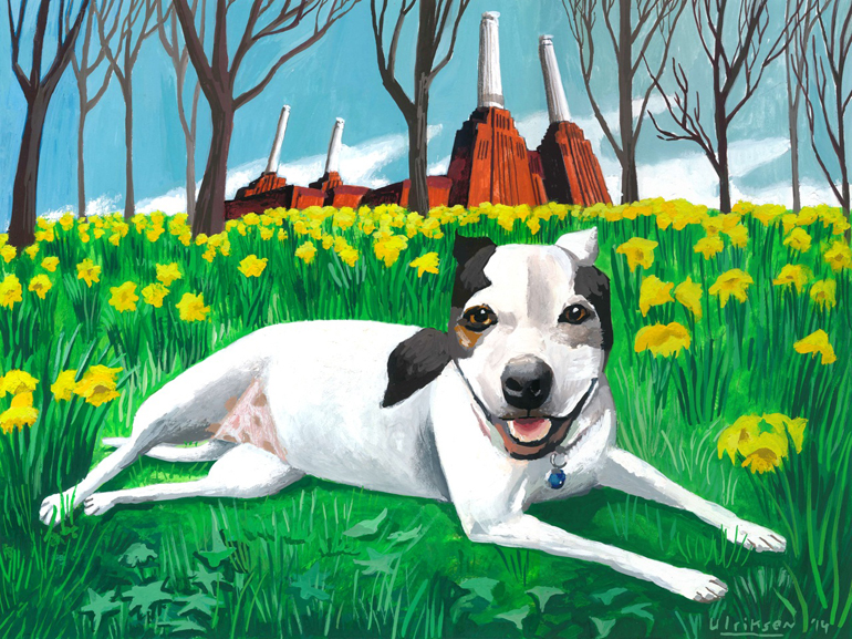 """""""Daisy of London,"""" a dog portrait painted by Mark Ulriksen for a donor."""