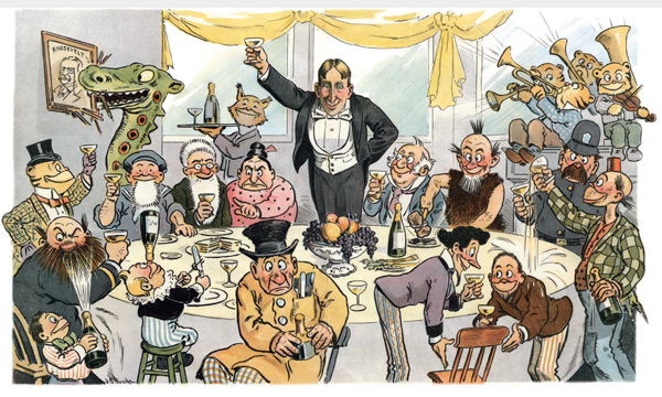 """J.S. Pughe, 1904. """"Pughe offered up this fantasy of what a typical White House dinner would look like if newspaper publisher William Randolph Hearst was elected President."""""""