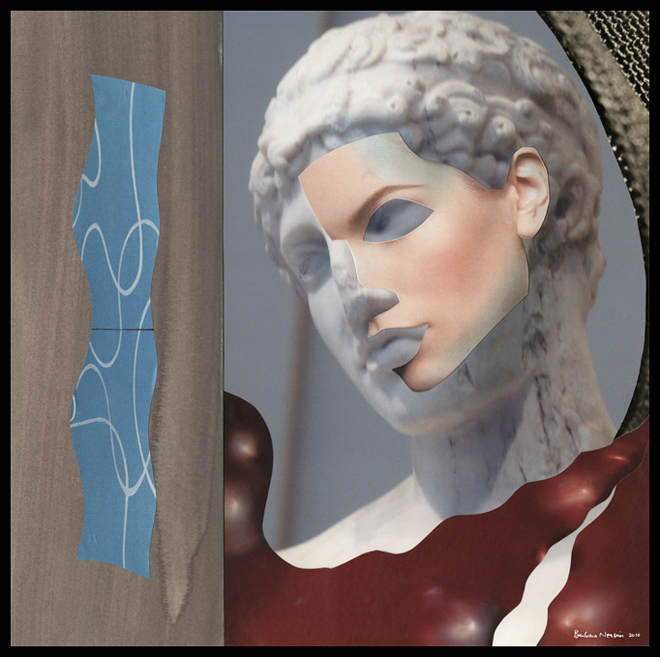 """""""Sea Pearl,"""" from the series """"Chronicles of Beauty,"""" 2010. Photo collage, digital print on aluminum. 4' x 4'"""