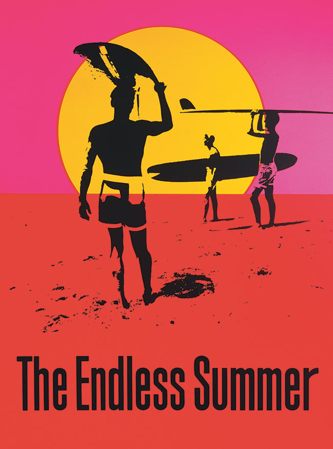 """John Van Hamersveld, """"Endless Summer"""" poster for surfing documentary, 1964 (now in the collection of the Museum of Modern Art"""