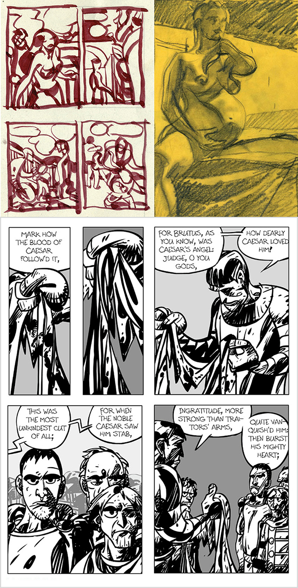"""Mark Badger: """"Daily Kirby"""" study of Mister Miracle #6, life drawing study, Kirby-inspired Julius Caesar."""