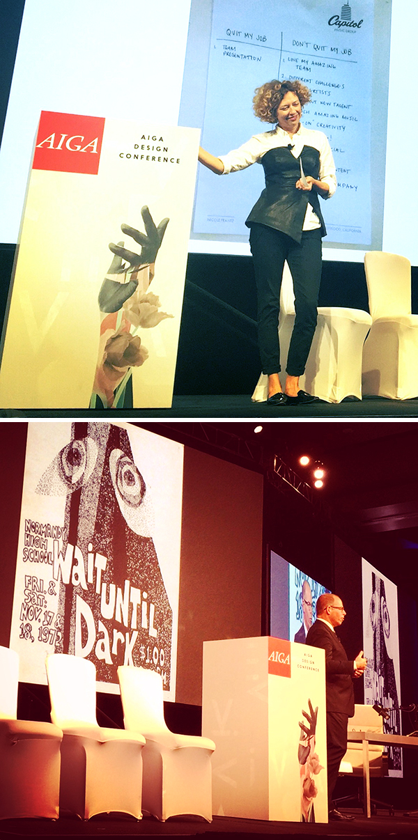 """Nicole Frantz: """"What Freaks Yuo Out?"""" and Michael Bierut: """"What I've Learned."""" Photos by M. Dooley."""