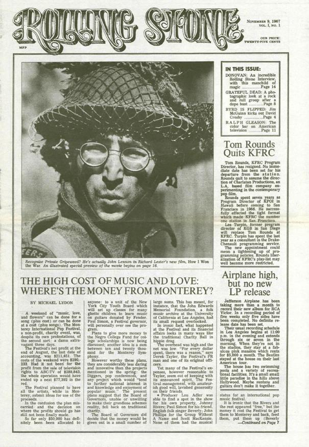 First issue of Rolling Stone, 1967