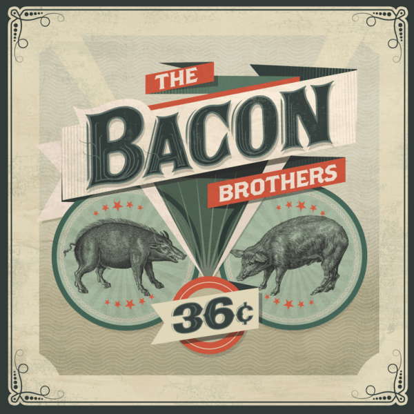 The Bacon Brothers CD 36¢ // The Visual Strategist; www.thevisualstrategist.com: Gail Marowitz (creative director/designer), The Visual Strategist (art direction), Ed Sherman (designer/illustrator), Stefan Malzkorn (photographer); The Bacon Brothers (client)