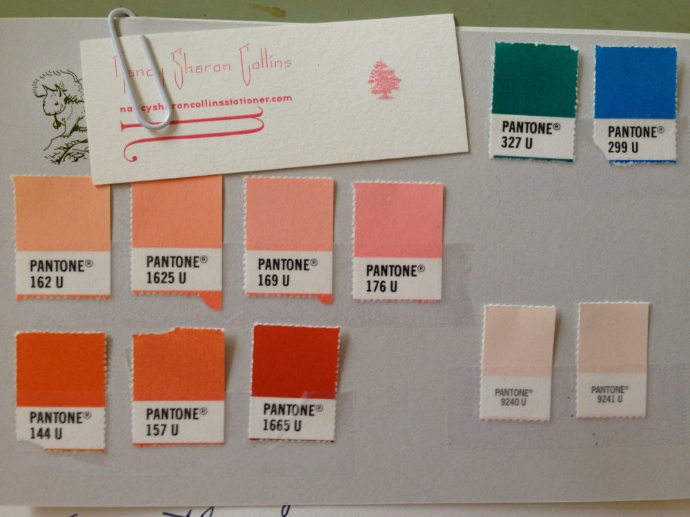 Investigation for a compliment to client's branded color standards, Pantone solid uncoated 327 U and 299 U.