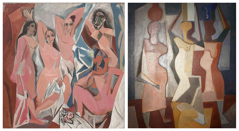 left - Les_Demoiselles_d'Avignon, Right, detail from Water Carriers, Roberto Burle Marx