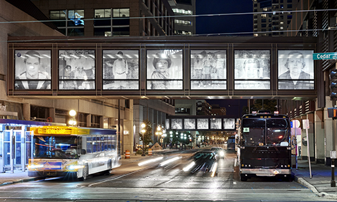 Night exterior view of two skyway bridges experienced at the street level in downtown St. Paul (photo: Peter Von De Linde)