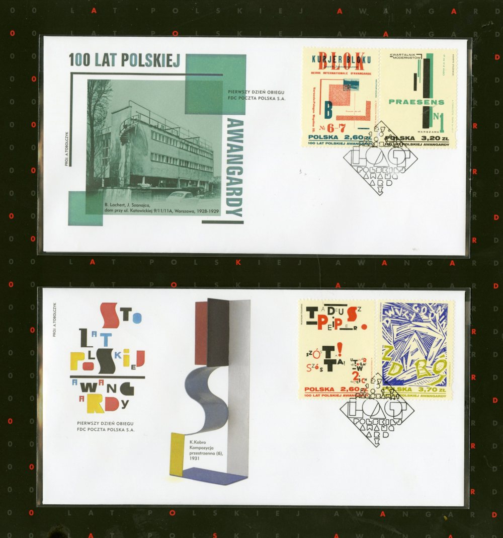 four postage stamps with illustrative and typographic work