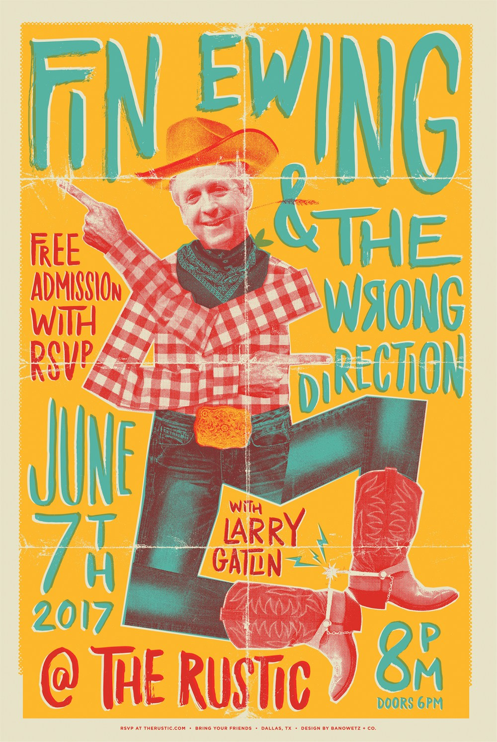 Fin Ewing and the Wrong Direction Concert Poster 1