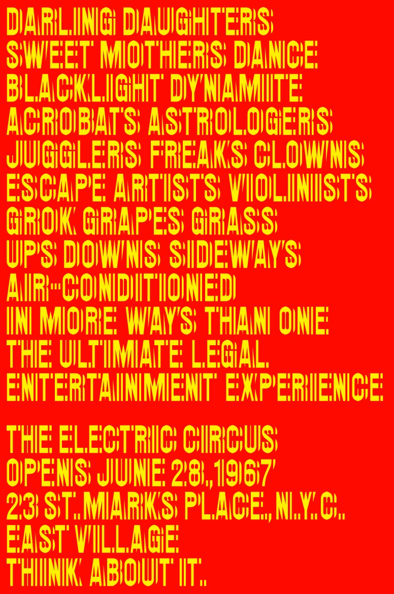 The poster with its vibrating typeface was an East Coast alternative San Francisco psychedelia. But according to Tom Geismar, the origin of the face prefigured the poster and the sex, drugs and rock n' roll aesthetic.