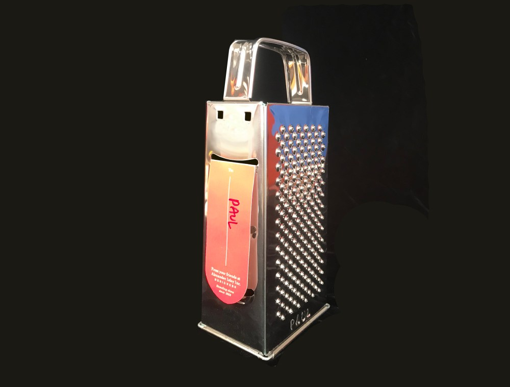 I. Classic cheese grater: The hardest part was stamping the recipients' names into the metal. I think this has received the most enthusiastic response of all the gifts we've sent. Who knows why.