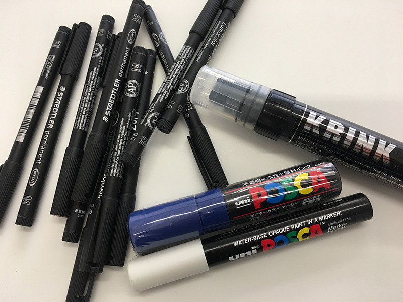 Staedtler and Krink pens and markers
