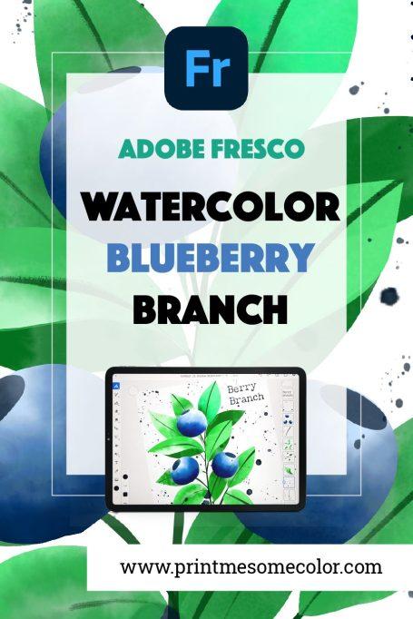 adobe fresco tutorial watercolor blueberries