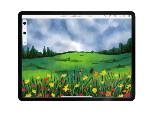 watercolor landscape, adobe fresco beginner tutorial