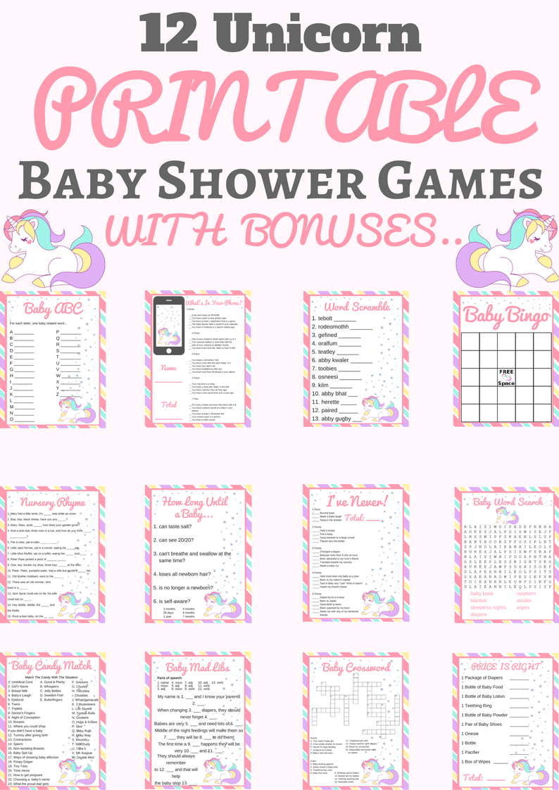 Unicorn Baby Shower Printable Game Package