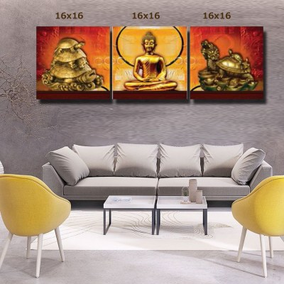 Buddha and turtle metal statues canvas wall art