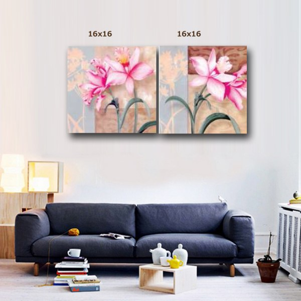 Pink Amaryllis canvas wall art, canvas wall decor (16*16 -2 Panels) PMS2AP-00009560 1