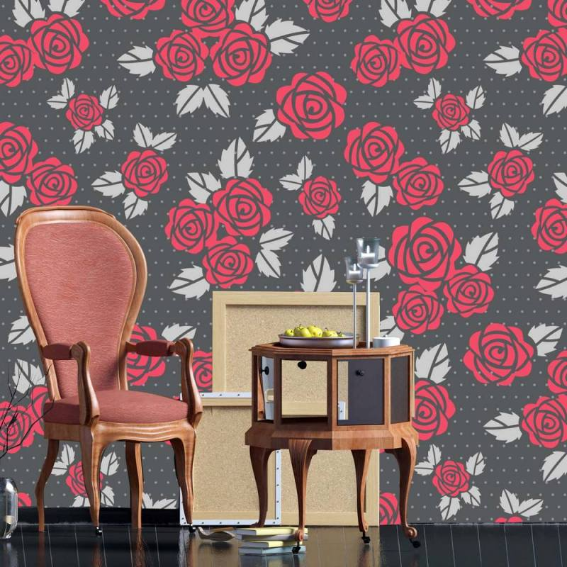 Buy Red Roses With Gray Leaves Wallpaper 2