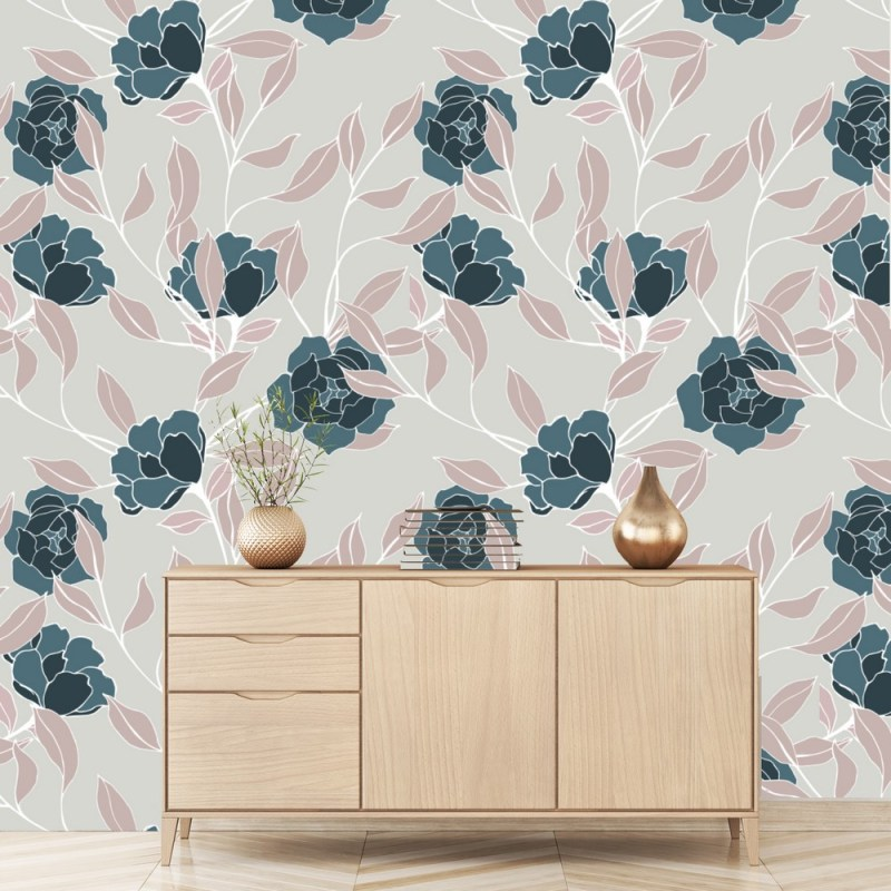 Jade Flowers Removable Wallpaper 2