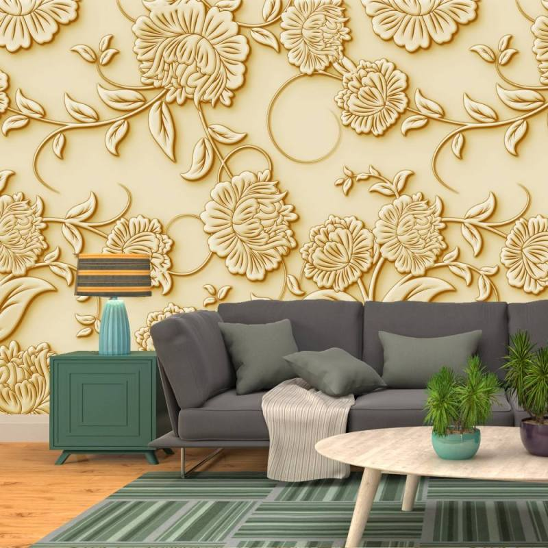 Buy Embossed Golden Roses Wallpaper 1