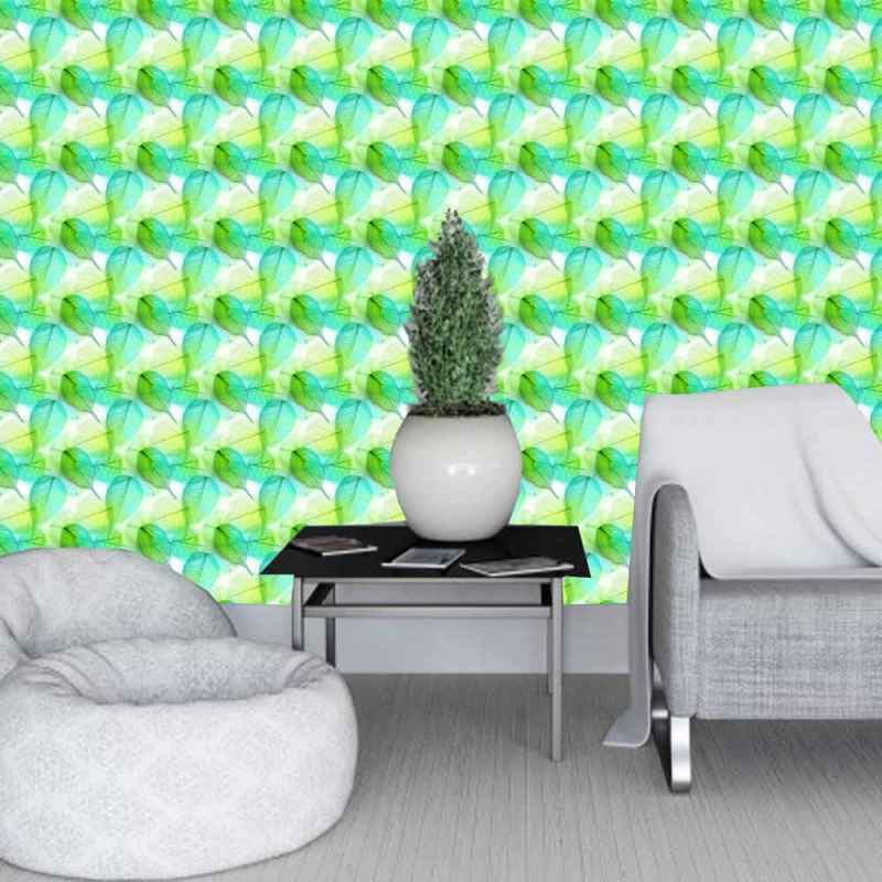 Wall Covering, Tapete Of Seafoam Green Banyan Leaves 1