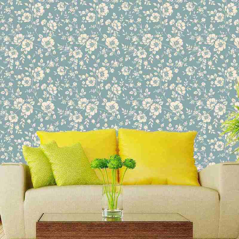 White And Teal Monochrome Floral Wallpaper Online 1