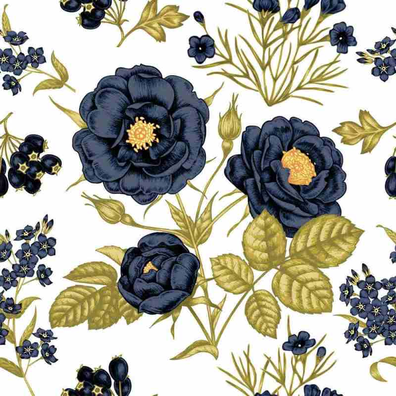 Blue Floral Pattern Peel And Stick Floral Wallpaper 2