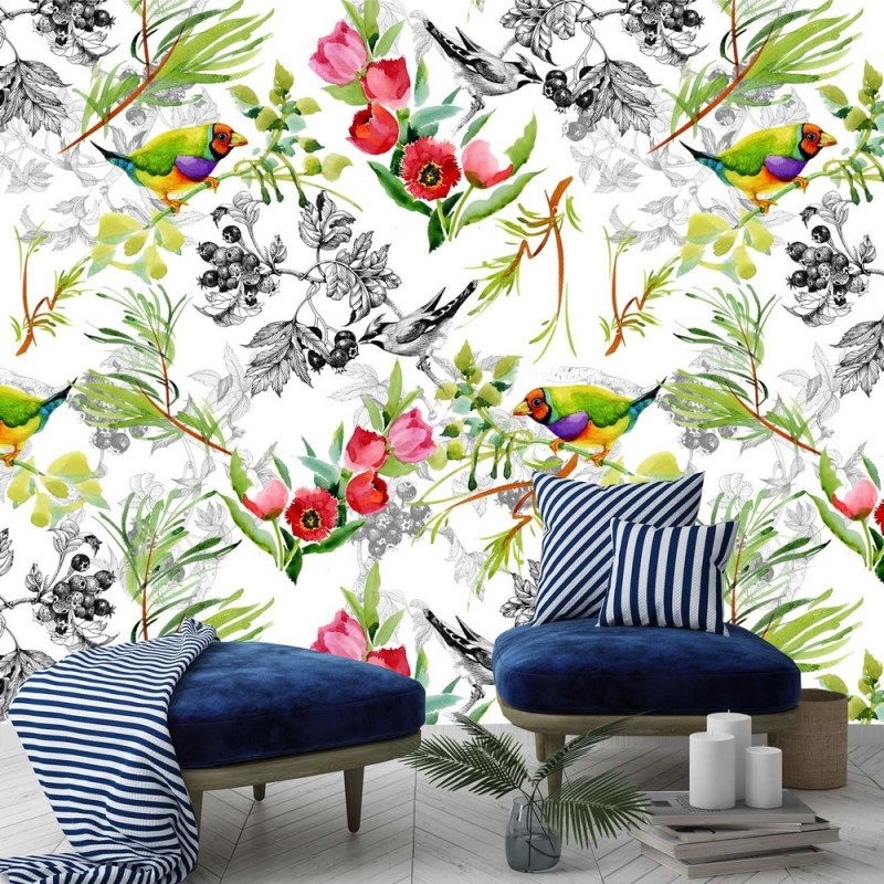 Buy Birds With Red Flowers Wallpaper 2