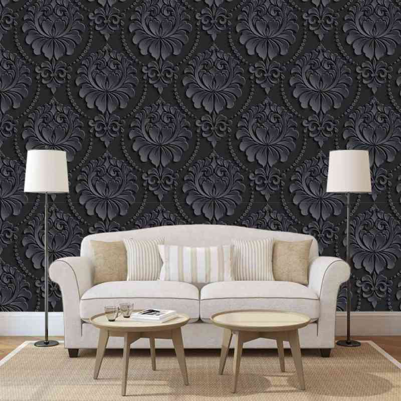 Charcoal Ornate Damask Wallpaper 1