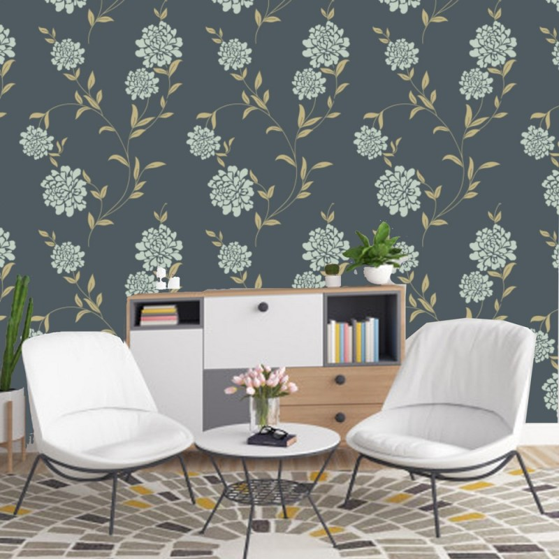 Grey Floral Removable Wallpaper 1