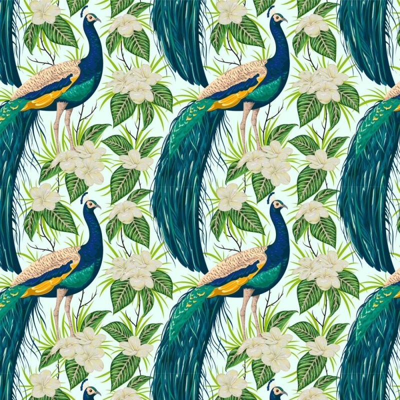 Painted Peacock Removable Wallpaper 2