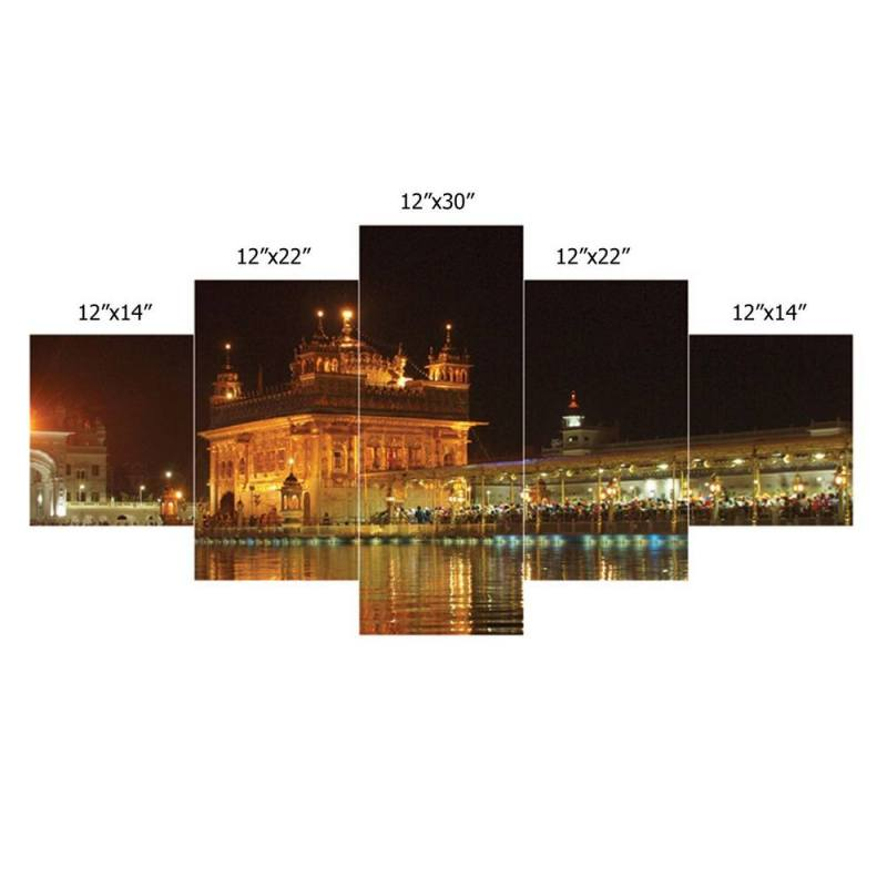 Buy Golden Temple canvas wall decor, 5 Panel Art 2