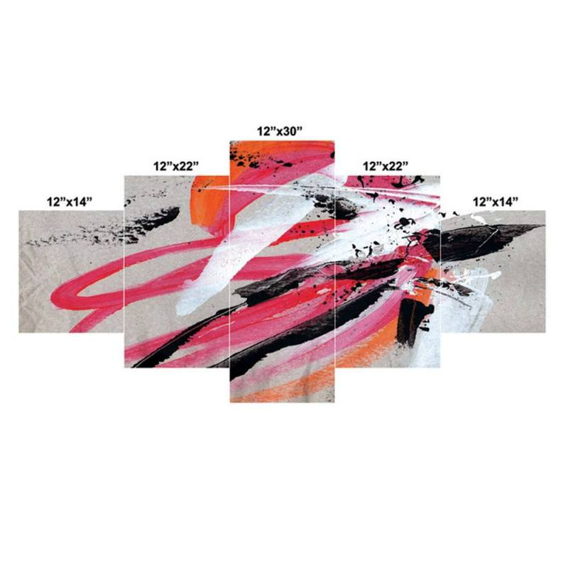 Black and pink brush stroke canvas wall decor, 5 Panel Art 2
