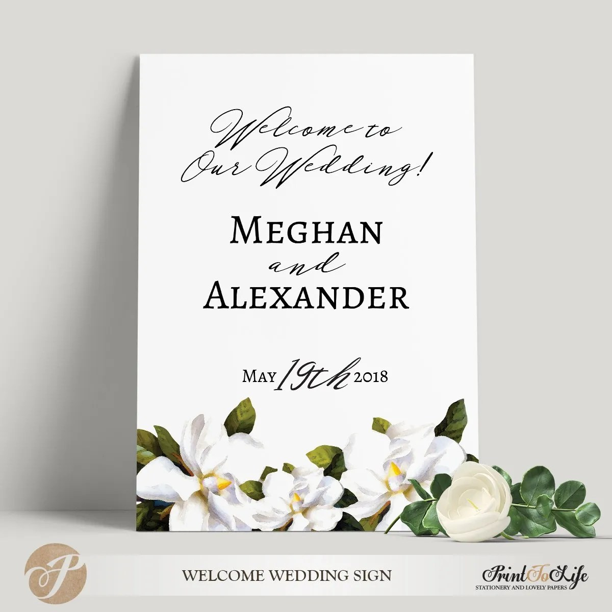 welcome wedding sign wedding poster template magnolia collection