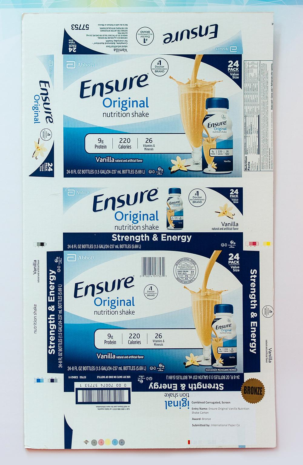 BRONZE AWARD: Ensure Original Vanilla Nutrition Shake carton, International Paper Co.
