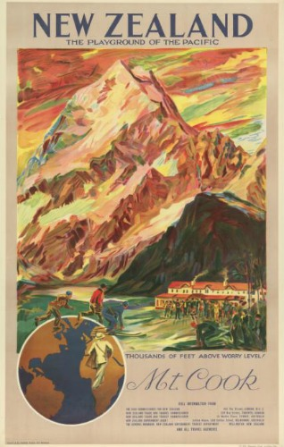 Mt Cook Vintage Poster Playground Of The Pacific New