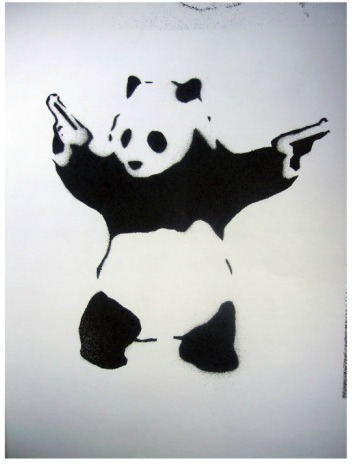 Panda With Guns Graffiti Art Print New Zealand Fine Prints