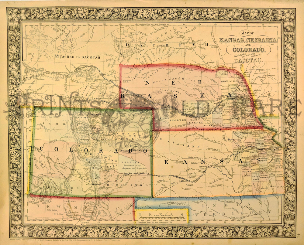 Prints Old   Rare   Colorado   Antique Maps   Prints Kansas  Nebraska and Colorado   Dacotah  Mitchell 1861   An engraved and  hand colored map 1866 map of Kansas  Nebraska  Colorado and Dakota
