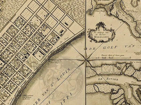 HD Decor Images » Prints Old   Rare   New Orleans  LA   Antique Maps   Prints 1769 Copper engraved Plan of New Orleans which shows ancient views of New  Orleans and the Mississippi River Delta  The city layout is displayed in  the