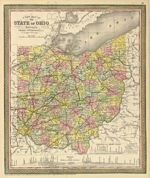 Prints Old   Rare   Ohio   Antique Maps   Prints A New Map of the State of Ohio  Cowperthwait  1850   A handsome engraved  and original colored map by Thomas Cowperthwait and S  A  Mitchell s 1850  map of