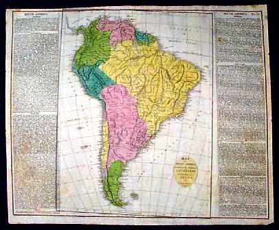 Prints Old   Rare   South America   Antique Maps   Prints 1821 Map of South America  Authentic original watercolored engraving  This  beautiful map of South America was drawn by E  Paguenaud  and published in