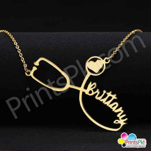Stethoscope Shape Necklace, name necklace for doctors,