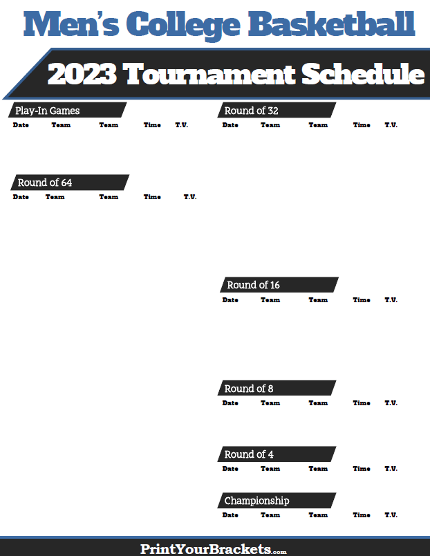 NCAA March Madness Schedule