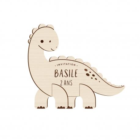 anniversaire dinosaure invitation originale en bois print your love