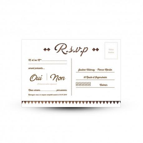 carton reponse rsvp a personnaliser pour votre mariage rustique