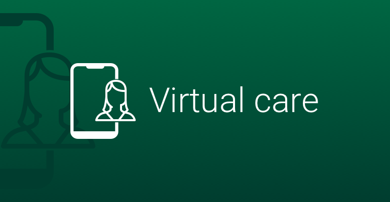 virtual care icon on green background